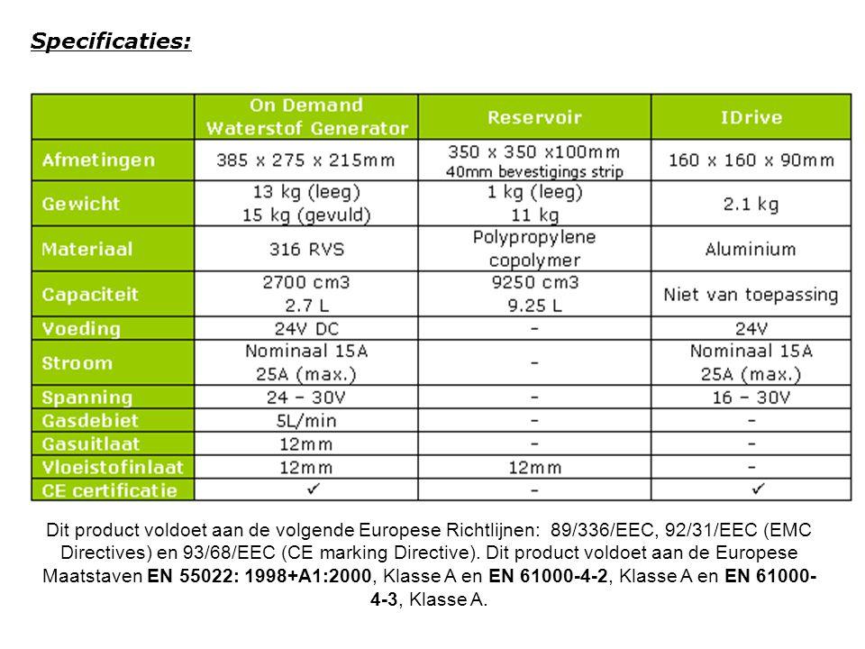 Specificaties: Dit product voldoet aan de volgende Europese Richtlijnen: 89/336/EEC, 92/31/EEC (EMC Directives) en 93/68/EEC (CE marking Directive). D