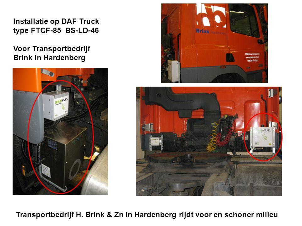 Installatie op DAF Truck type FTCF-85 BS-LD-46 Voor Transportbedrijf Brink in Hardenberg Transportbedrijf H. Brink & Zn in Hardenberg rijdt voor en sc