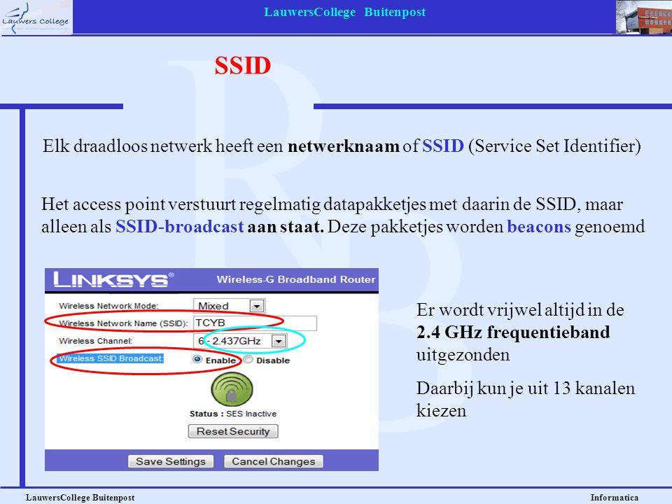 LauwersCollege Buitenpost LauwersCollege Buitenpost Informatica Beveiliging: WEP en WPA Bij een draadloos netwerk wordt vaak gebruik gemaakt van beveiliging d.m.v.