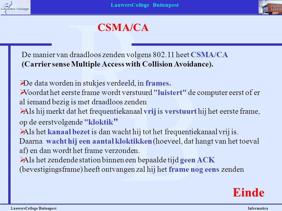 LauwersCollege Buitenpost LauwersCollege Buitenpost Informatica CSMA/CA De manier van draadloos zenden volgens 802.11 heet CSMA/CA (Carrier sense Multiple Access with Collision Avoidance).
