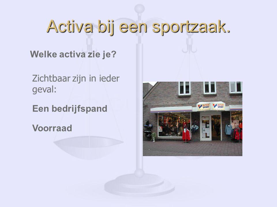 Activa bij een sportzaak.Welke activa zie je.