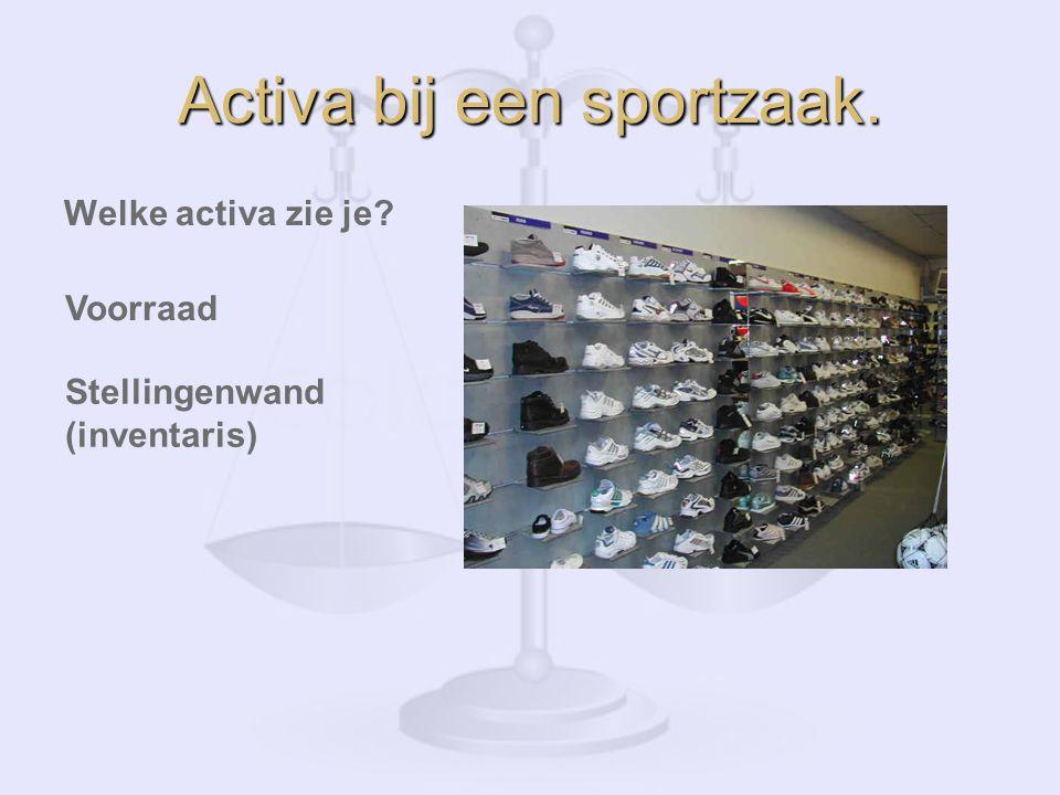Activa bij een sportzaak. Welke activa zie je? Voorraad Stellingenwand (inventaris)