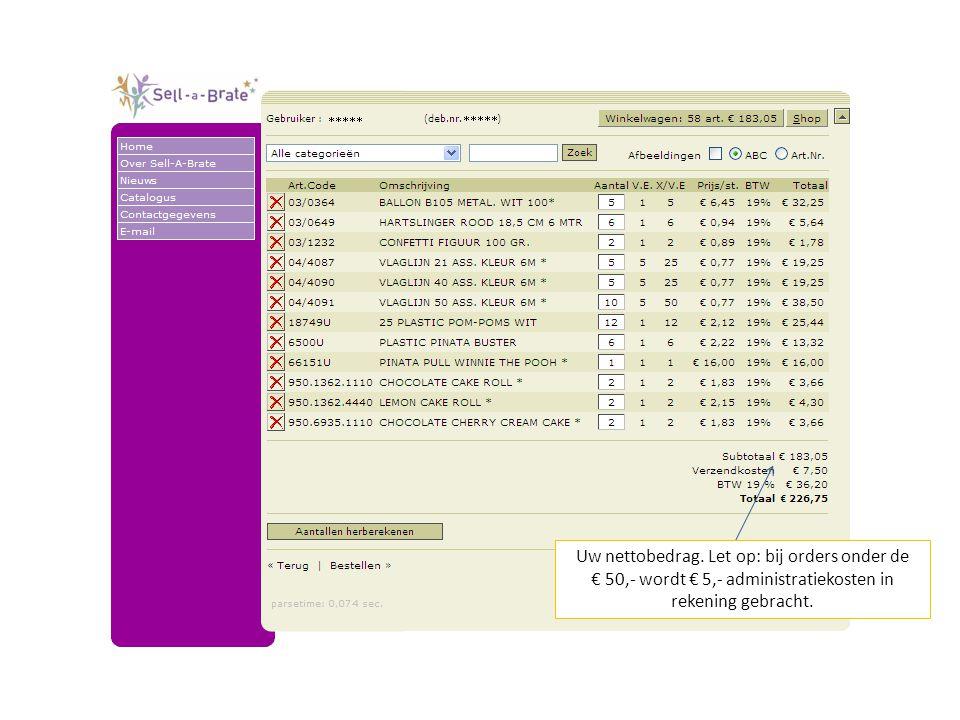 Uw nettobedrag. Let op: bij orders onder de € 50,- wordt € 5,- administratiekosten in rekening gebracht.
