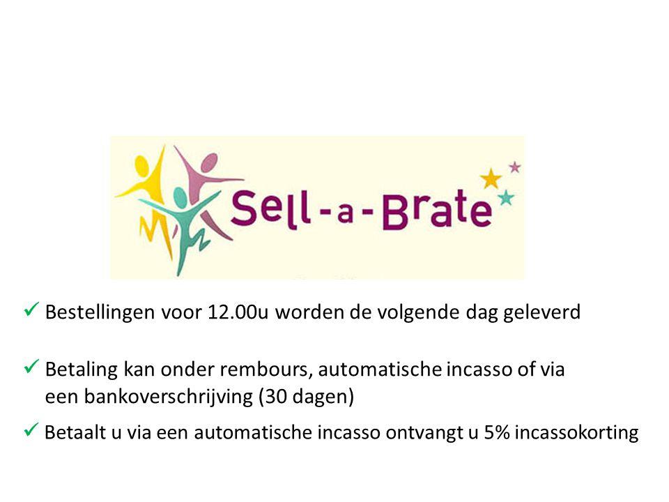  Bestellingen voor 12.00u worden de volgende dag geleverd  Betaalt u via een automatische incasso ontvangt u 5% incassokorting  Betaling kan onder