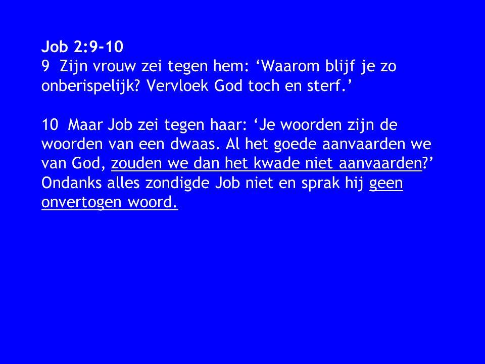 Job 2:9-10 9 Zijn vrouw zei tegen hem: 'Waarom blijf je zo onberispelijk? Vervloek God toch en sterf.' 10 Maar Job zei tegen haar: 'Je woorden zijn de