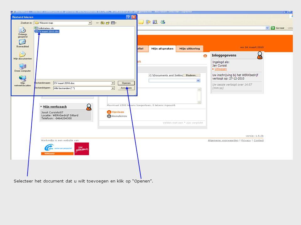 """Selecteer het document dat u wilt toevoegen en klik op """"Openen""""."""