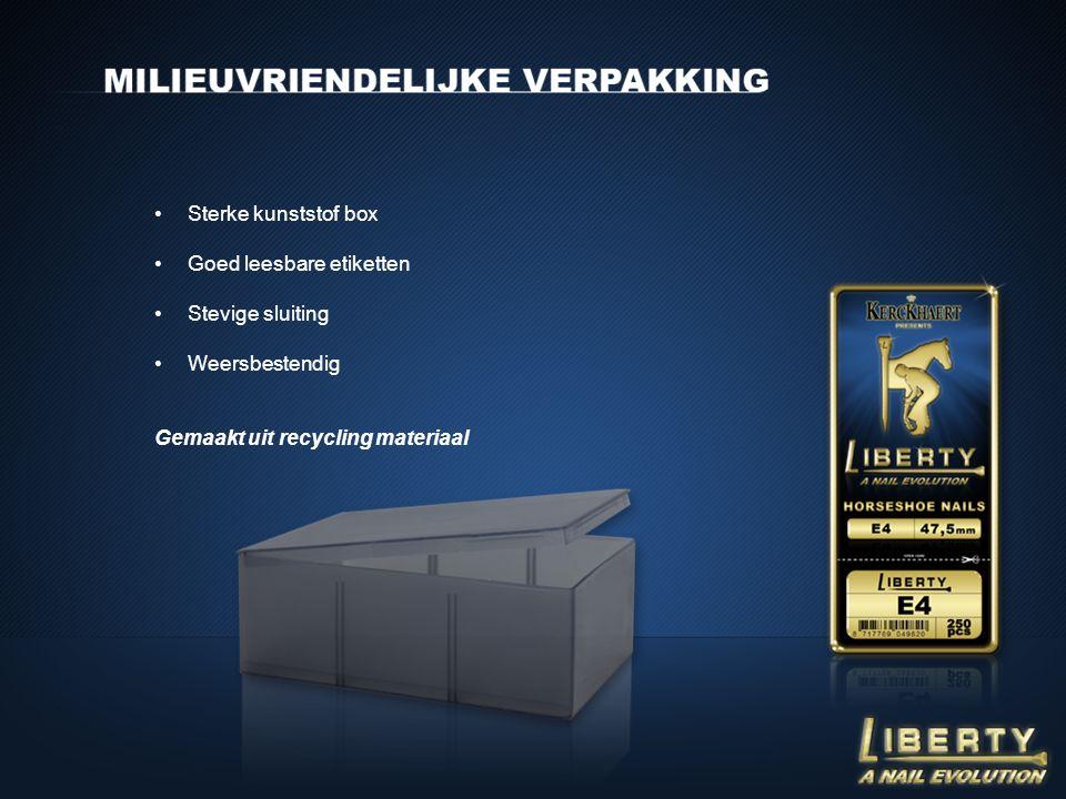 •Sterke kunststof box •Goed leesbare etiketten •Stevige sluiting •Weersbestendig Gemaakt uit recycling materiaal