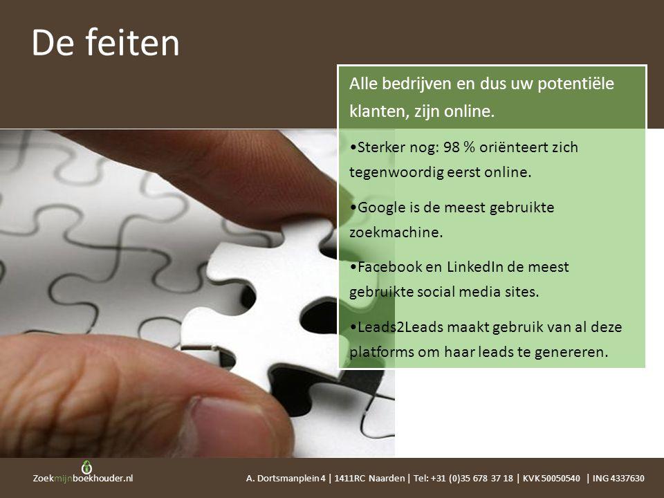 Zoekmijnboekhouder.nl Alle bedrijven en dus uw potentiële klanten, zijn online. •Sterker nog: 98 % oriënteert zich tegenwoordig eerst online. •Google