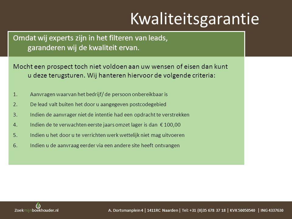Zoekmijnboekhouder.nl Omdat wij experts zijn in het filteren van leads, garanderen wij de kwaliteit ervan. Mocht een prospect toch niet voldoen aan uw