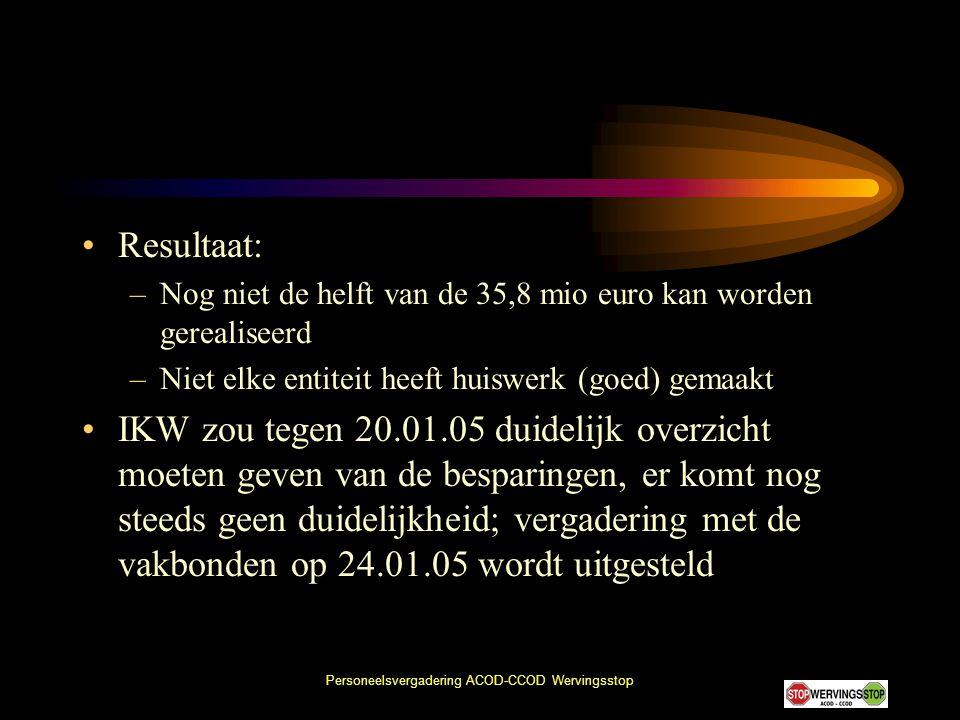 Personeelsvergadering ACOD-CCOD Wervingsstop •Resultaat: –Nog niet de helft van de 35,8 mio euro kan worden gerealiseerd –Niet elke entiteit heeft hui