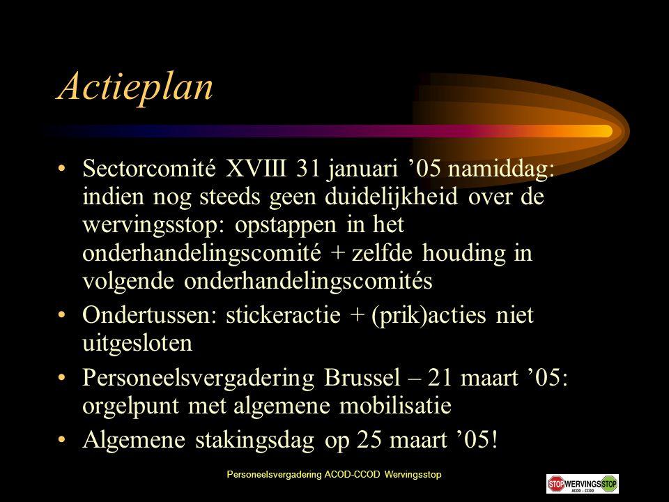 Personeelsvergadering ACOD-CCOD Wervingsstop Actieplan •Sectorcomité XVIII 31 januari '05 namiddag: indien nog steeds geen duidelijkheid over de wervi