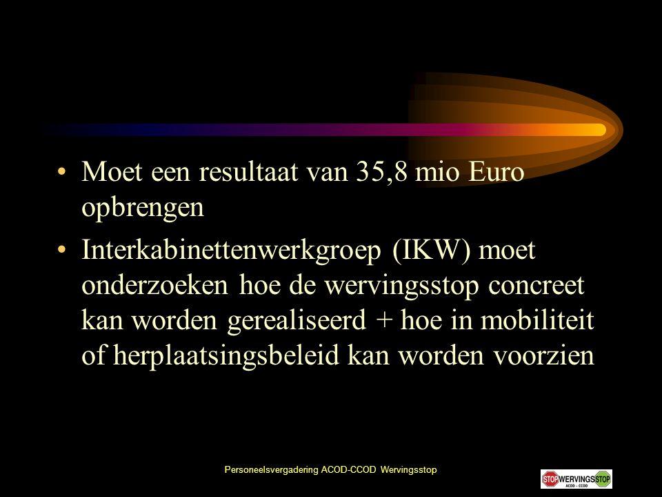 Personeelsvergadering ACOD-CCOD Wervingsstop •Moet een resultaat van 35,8 mio Euro opbrengen •Interkabinettenwerkgroep (IKW) moet onderzoeken hoe de w