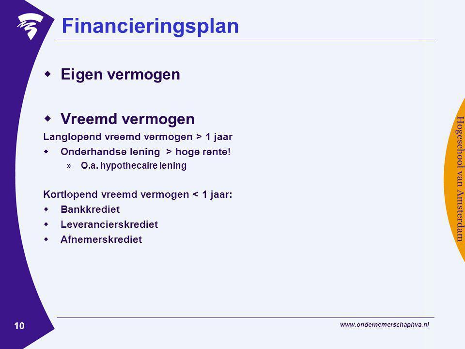 www.ondernemerschaphva.nl 10 Financieringsplan  Eigen vermogen  Vreemd vermogen Langlopend vreemd vermogen > 1 jaar  Onderhandse lening > hoge rente.