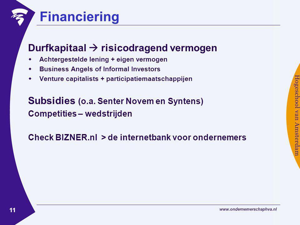 www.ondernemerschaphva.nl 11 Financiering Durfkapitaal  risicodragend vermogen  Achtergestelde lening + eigen vermogen  Business Angels of Informal Investors  Venture capitalists + participatiemaatschappijen Subsidies (o.a.