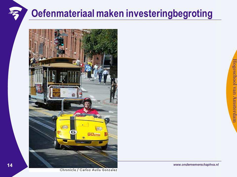 www.ondernemerschaphva.nl 14 Oefenmateriaal maken investeringbegroting