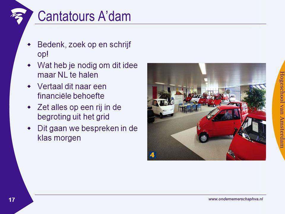 www.ondernemerschaphva.nl 17 Cantatours A'dam  Bedenk, zoek op en schrijf op!  Wat heb je nodig om dit idee maar NL te halen  Vertaal dit naar een