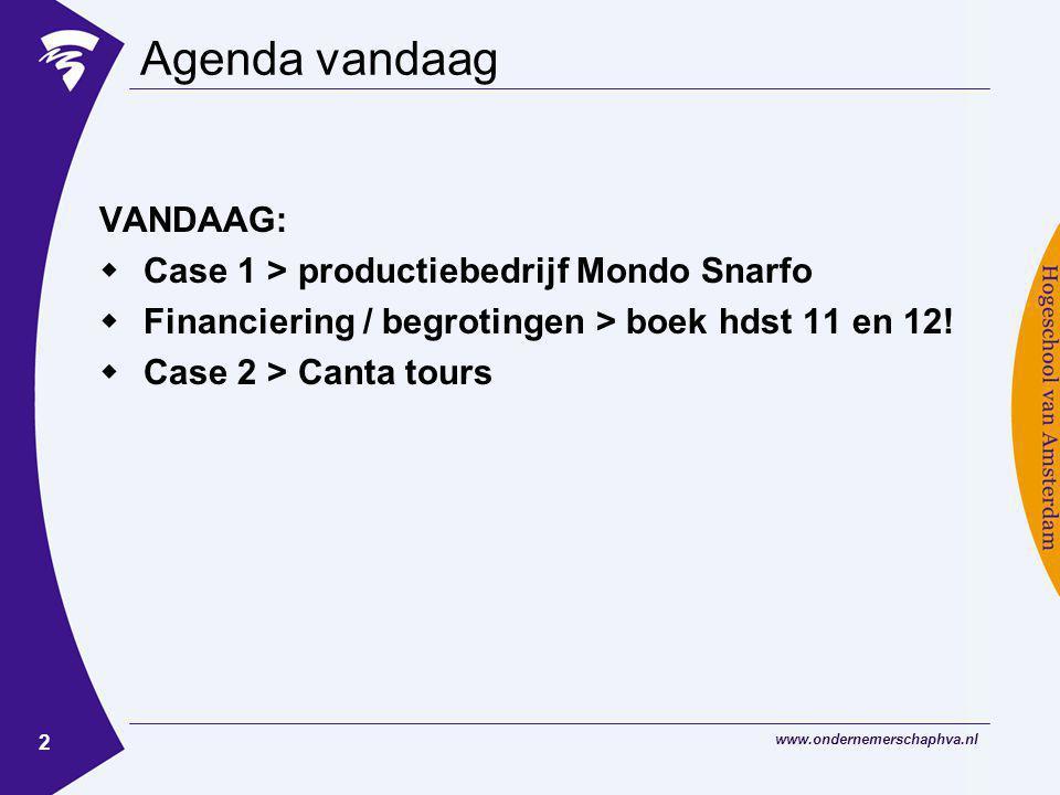 www.ondernemerschaphva.nl 2 Agenda vandaag VANDAAG:  Case 1 > productiebedrijf Mondo Snarfo  Financiering / begrotingen > boek hdst 11 en 12!  Case