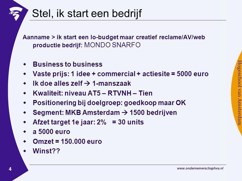 www.ondernemerschaphva.nl 4 Stel, ik start een bedrijf Aanname > ik start een lo-budget maar creatief reclame/AV/web productie bedrijf: MONDO SNARFO  Business to business  Vaste prijs: 1 idee + commercial + actiesite = 5000 euro  Ik doe alles zelf  1-manszaak  Kwaliteit: niveau AT5 – RTVNH – Tien  Positionering bij doelgroep: goedkoop maar OK  Segment: MKB Amsterdam  1500 bedrijven  Afzet target 1e jaar: 2% = 30 units  a 5000 euro  Omzet = 150.000 euro  Winst??