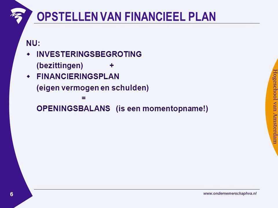 www.ondernemerschaphva.nl 6 OPSTELLEN VAN FINANCIEEL PLAN NU:  INVESTERINGSBEGROTING (bezittingen) +  FINANCIERINGSPLAN (eigen vermogen en schulden) = OPENINGSBALANS (is een momentopname!)