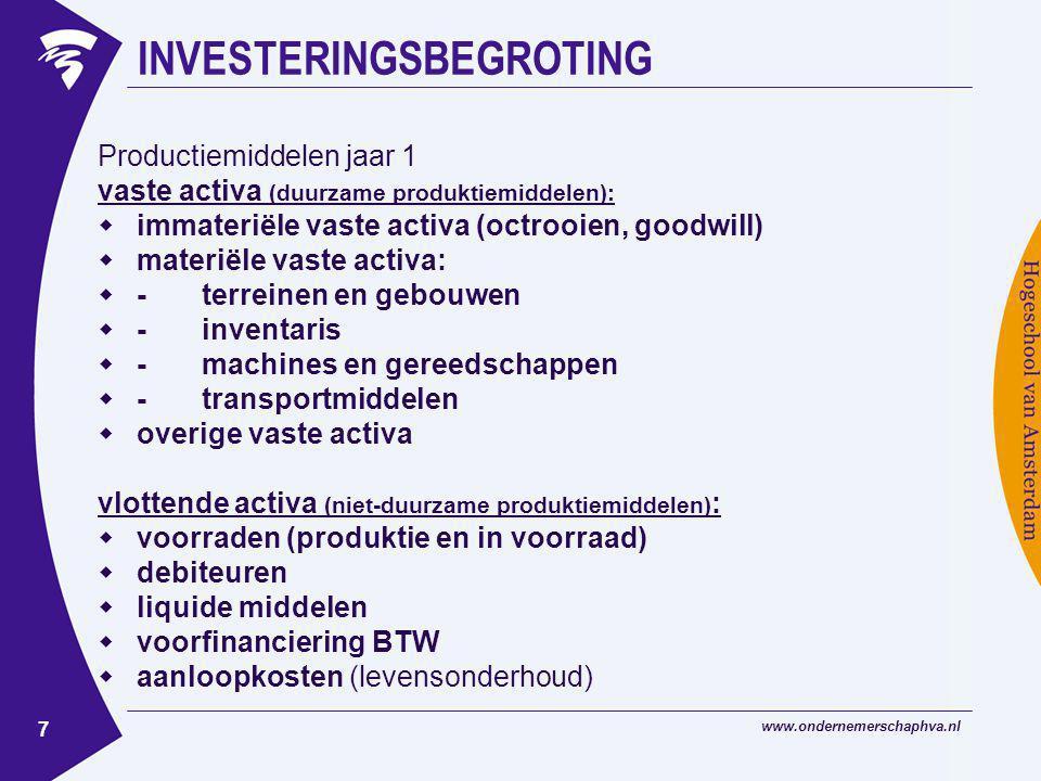 www.ondernemerschaphva.nl 7 INVESTERINGSBEGROTING Productiemiddelen jaar 1 vaste activa (duurzame produktiemiddelen):  immateriële vaste activa (octr