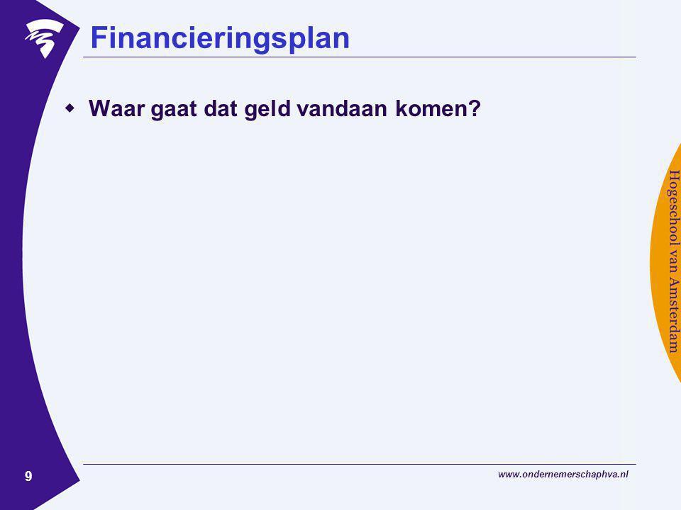 www.ondernemerschaphva.nl 9 Financieringsplan  Waar gaat dat geld vandaan komen?