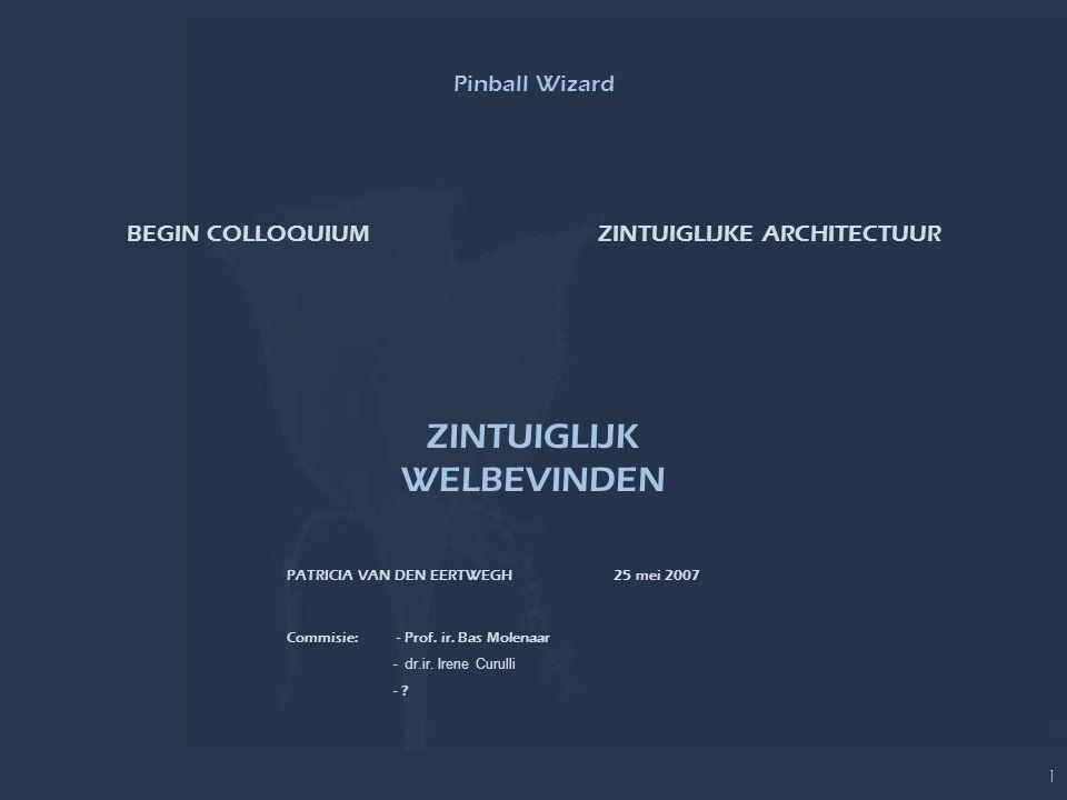 ZINTUIGLIJK WELBEVINDENBEGIN COLLOQUIUM 1 PATRICIA VAN DEN EERTWEGH 25 mei 2007 ZINTUIGLIJKE ARCHITECTUURBEGIN COLLOQUIUM Commisie: - Prof. ir. Bas Mo