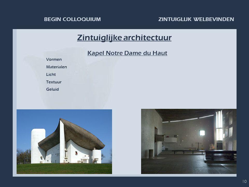 ZINTUIGLIJK WELBEVINDENBEGIN COLLOQUIUM 10 Zintuiglijke architectuur Kapel Notre Dame du Haut Vormen Materialen Licht Textuur Geluid