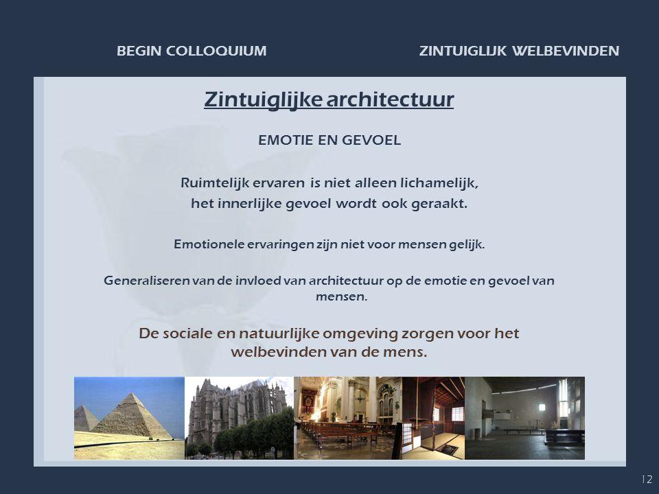 ZINTUIGLIJK WELBEVINDENBEGIN COLLOQUIUM 12 Zintuiglijke architectuur EMOTIE EN GEVOEL Ruimtelijk ervaren is niet alleen lichamelijk, het innerlijke ge