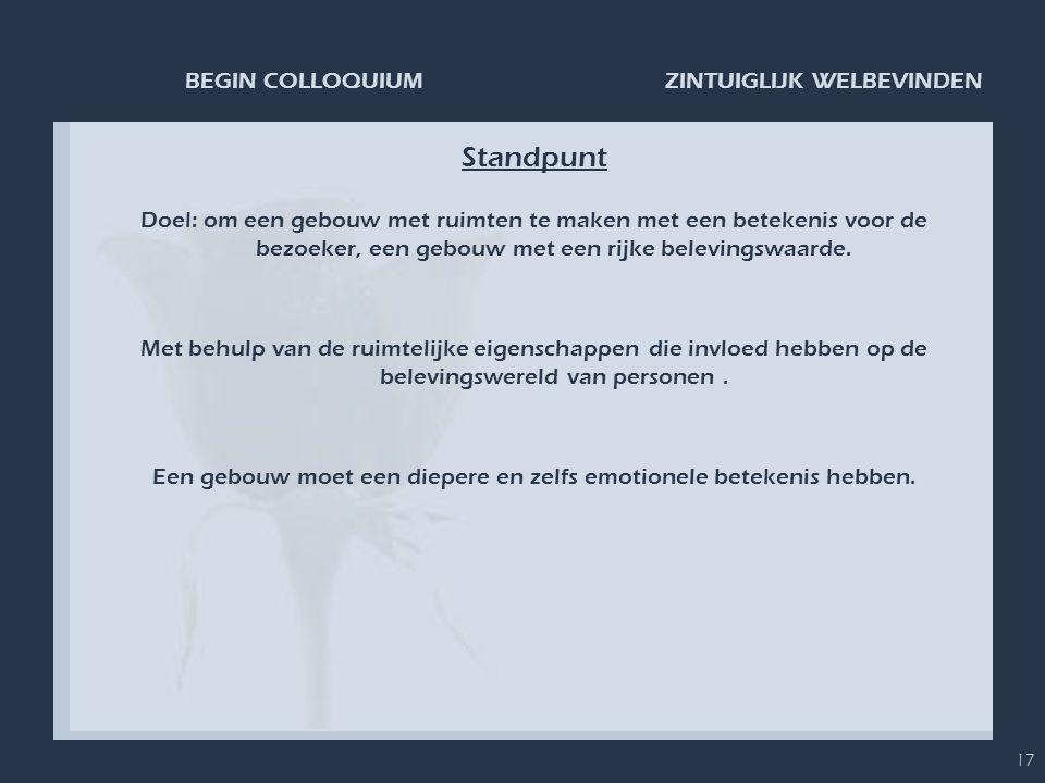 ZINTUIGLIJK WELBEVINDENBEGIN COLLOQUIUM 17 Standpunt Doel: om een gebouw met ruimten te maken met een betekenis voor de bezoeker, een gebouw met een r
