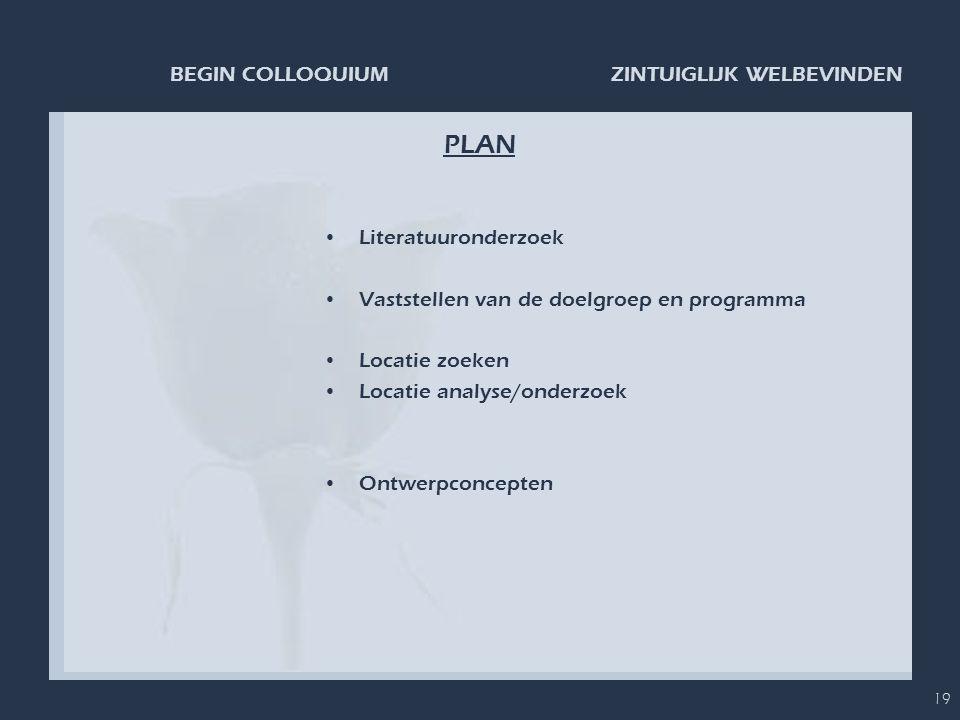 ZINTUIGLIJK WELBEVINDENBEGIN COLLOQUIUM 19 PLAN •Literatuuronderzoek •Vaststellen van de doelgroep en programma •Locatie zoeken •Locatie analyse/onder