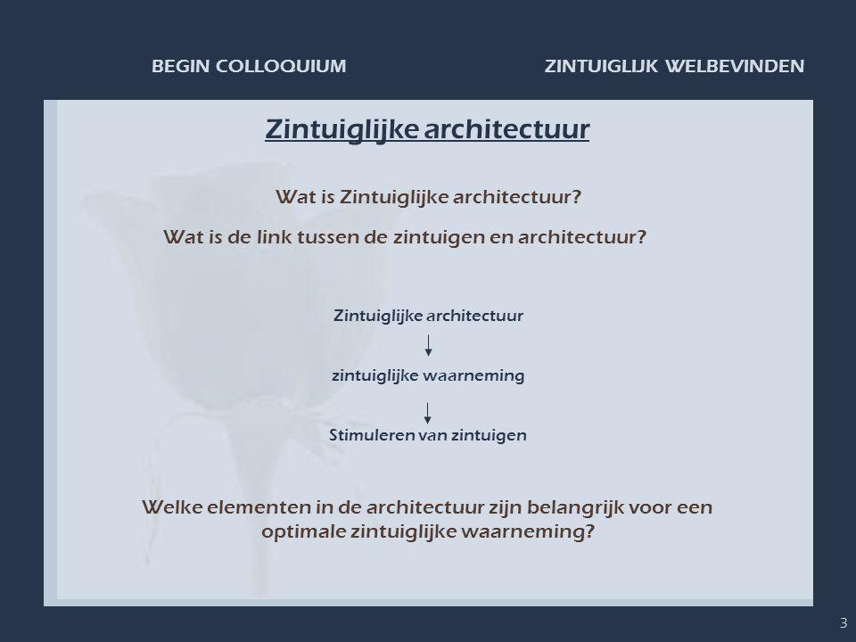ZINTUIGLIJK WELBEVINDENBEGIN COLLOQUIUM 3 Zintuiglijke architectuur Wat is Zintuiglijke architectuur? Wat is de link tussen de zintuigen en architectu