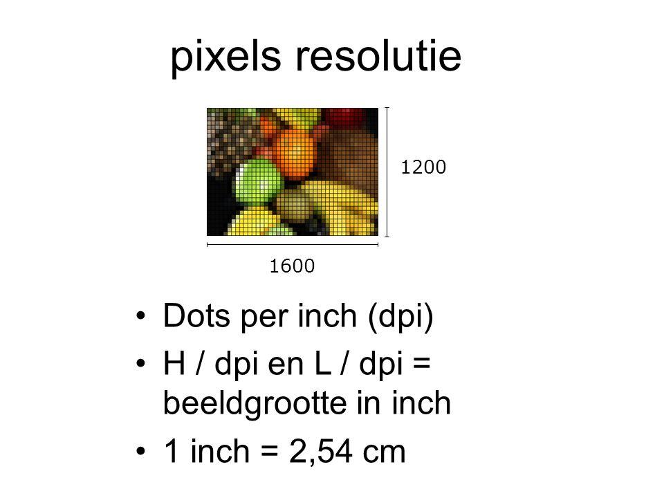 pixels resolutie •Dots per inch (dpi) •H / dpi en L / dpi = beeldgrootte in inch •1 inch = 2,54 cm 1200 1600