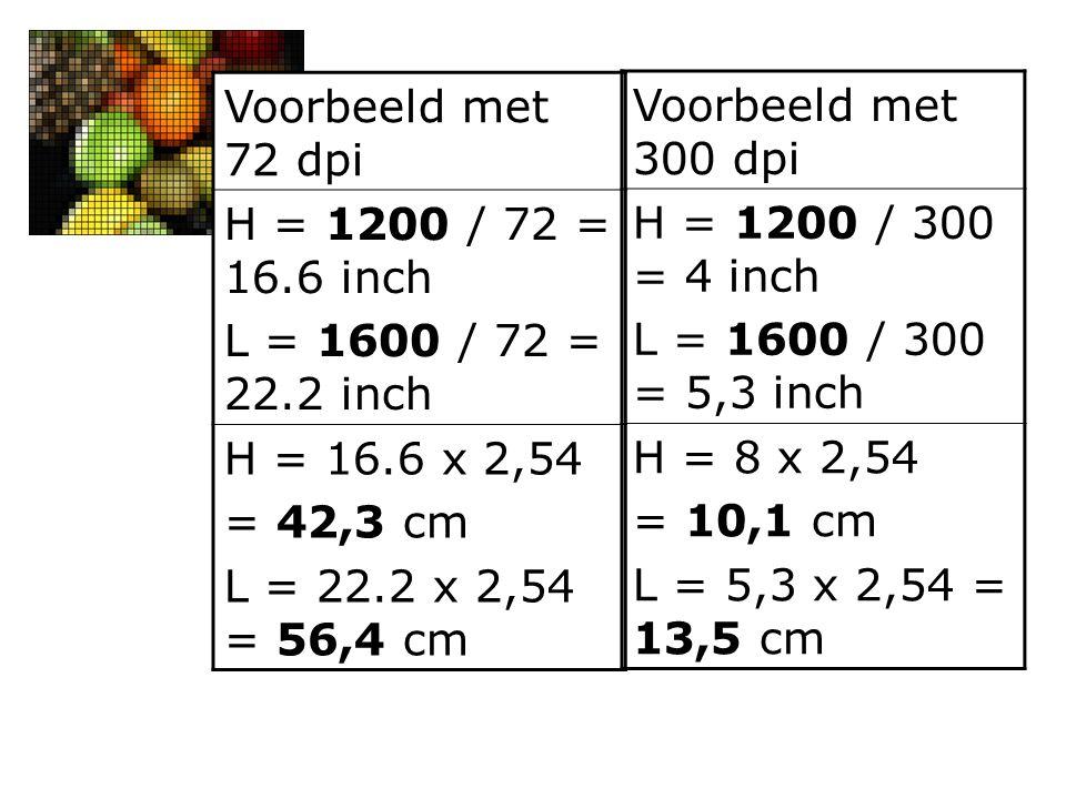 Voorbeeld met 72 dpi H = 1200 / 72 = 16.6 inch L = 1600 / 72 = 22.2 inch H = 16.6 x 2,54 = 42,3 cm L = 22.2 x 2,54 = 56,4 cm Voorbeeld met 300 dpi H =