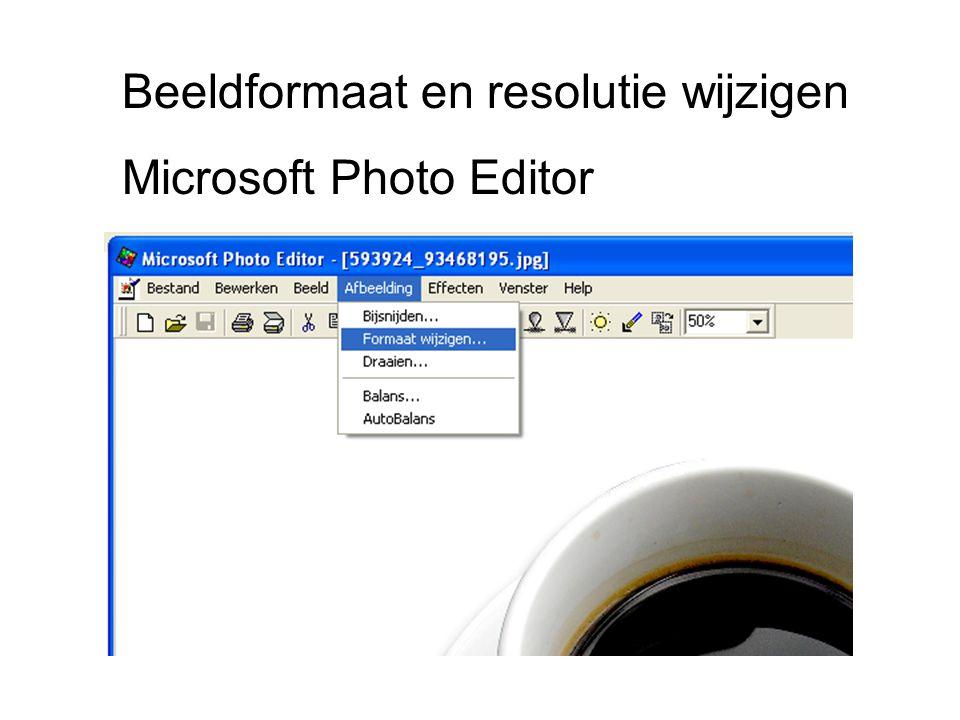 Beeldformaat en resolutie wijzigen Microsoft Photo Editor