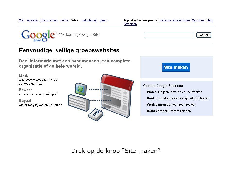 """Druk op de knop """"Site maken"""""""