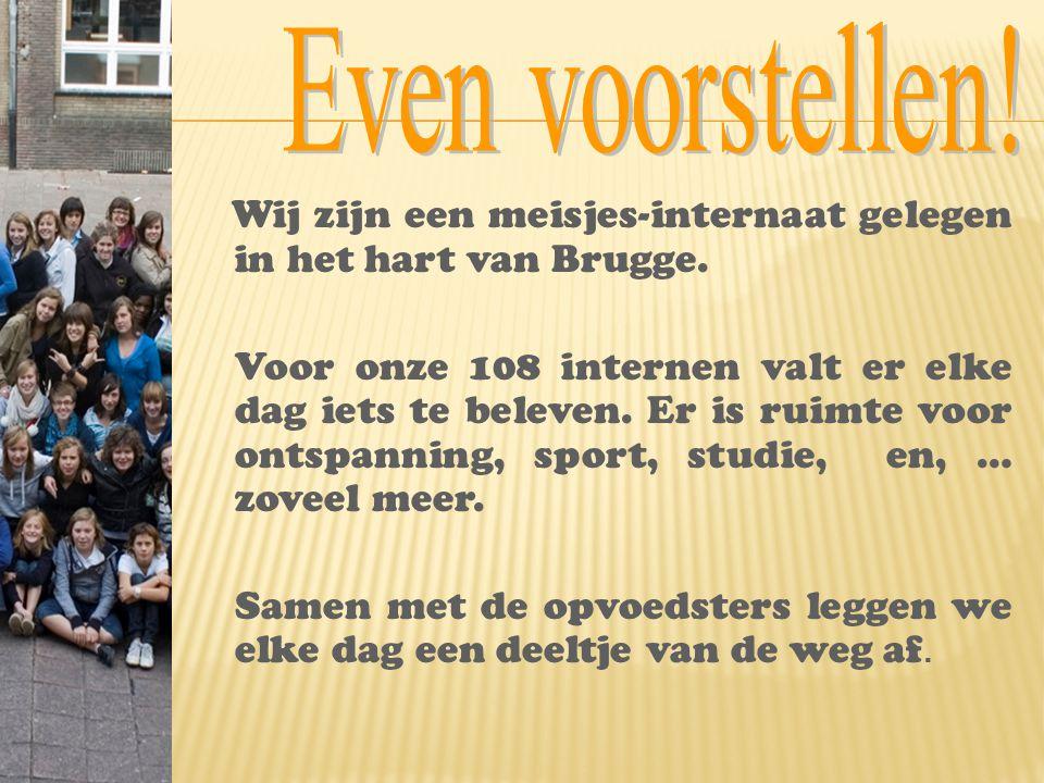 Wij zijn een meisjes-internaat gelegen in het hart van Brugge. Voor onze 108 internen valt er elke dag iets te beleven. Er is ruimte voor ontspanning,