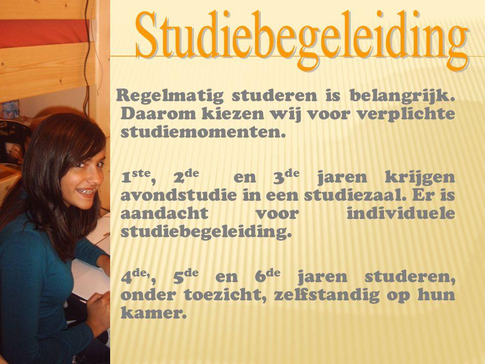 Regelmatig studeren is belangrijk. Daarom kiezen wij voor verplichte studiemomenten. 1 ste, 2 de en 3 de jaren krijgen avondstudie in een studiezaal.