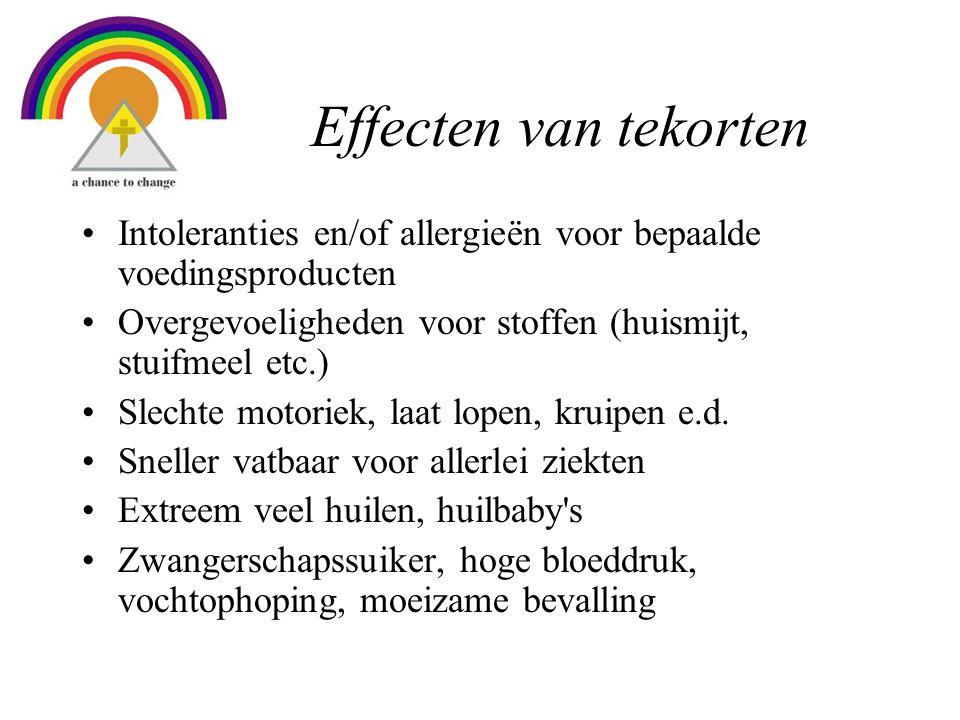 Effecten van tekorten •Intoleranties en/of allergieën voor bepaalde voedingsproducten •Overgevoeligheden voor stoffen (huismijt, stuifmeel etc.) •Slechte motoriek, laat lopen, kruipen e.d.