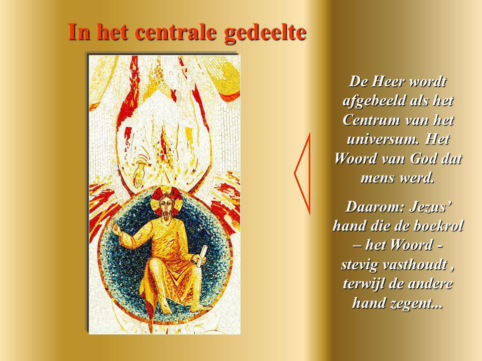 een waterval van licht, De hand van God die zich richt naar de Zoon Het bovenste gedeelte: