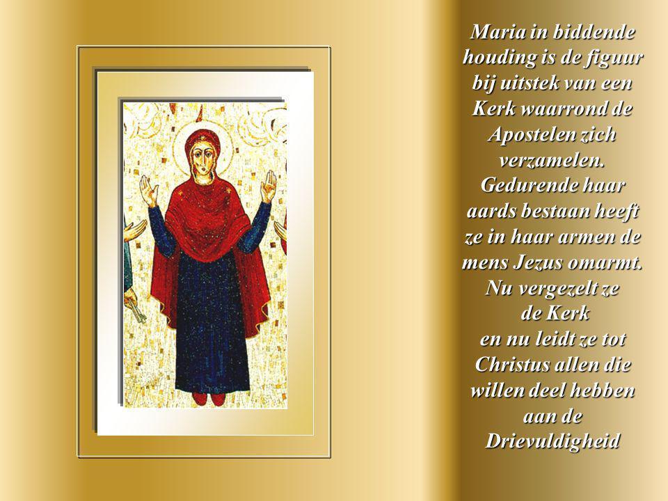 De H. Geest daalt neer over Maria en de Apostelen in de vorm van tongen van vuur .