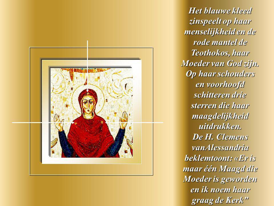 Maria in biddende houding is de figuur bij uitstek van een Kerk waarrond de Apostelen zich verzamelen.