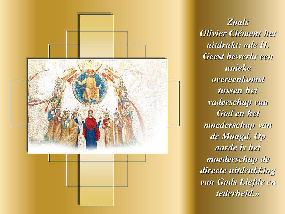Het blauwe kleed zinspeelt op haar menselijkheid en de rode mantel de Teothokos, haar Moeder van God zijn.