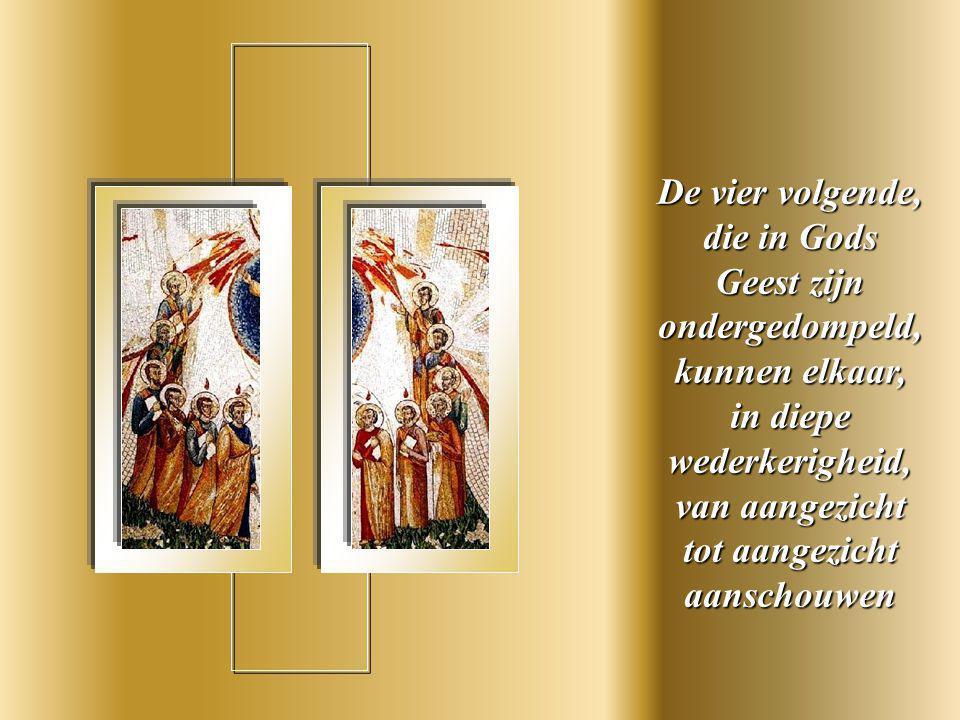 Elke apostel draagt een kleed met een verschillende kleur, volgens het charisma dat aan elkeen is gegeven.
