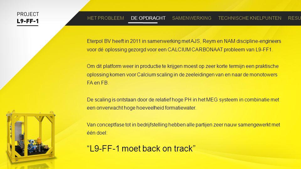 HET PROBLEEM DE OPDRACHT SAMENWERKING TECHNISCHE KNELPUNTEN RESULTAAT Eterpol BV heeft in 2011 in samenwerking met AJS, Reym en NAM discipline-enginee