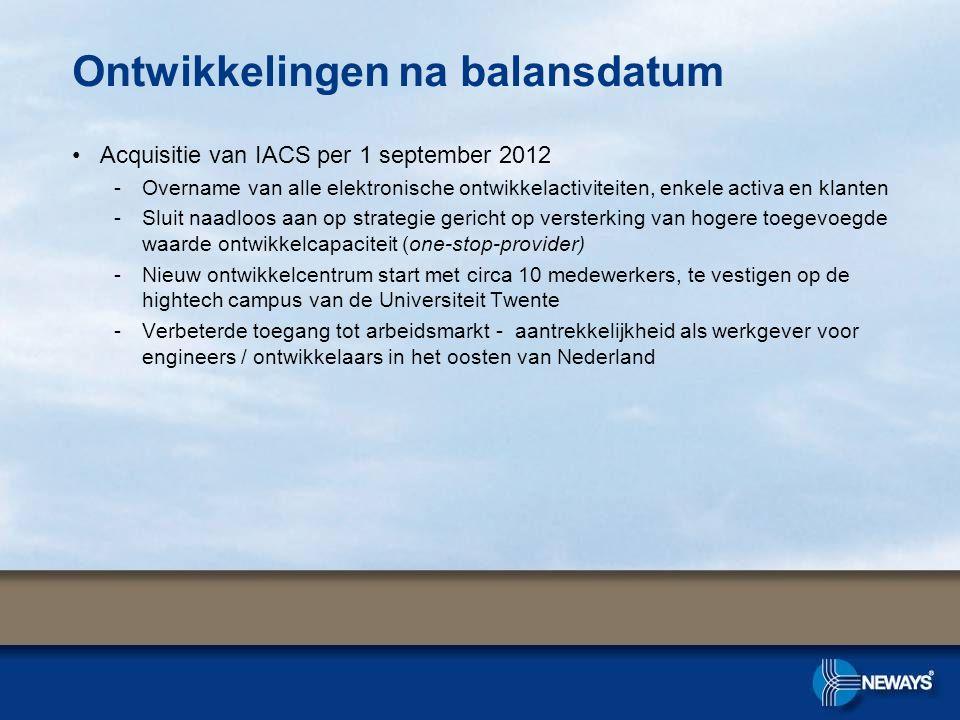 •Acquisitie van IACS per 1 september 2012 -Overname van alle elektronische ontwikkelactiviteiten, enkele activa en klanten -Sluit naadloos aan op strategie gericht op versterking van hogere toegevoegde waarde ontwikkelcapaciteit (one-stop-provider) -Nieuw ontwikkelcentrum start met circa 10 medewerkers, te vestigen op de hightech campus van de Universiteit Twente -Verbeterde toegang tot arbeidsmarkt - aantrekkelijkheid als werkgever voor engineers / ontwikkelaars in het oosten van Nederland Ontwikkelingen na balansdatum