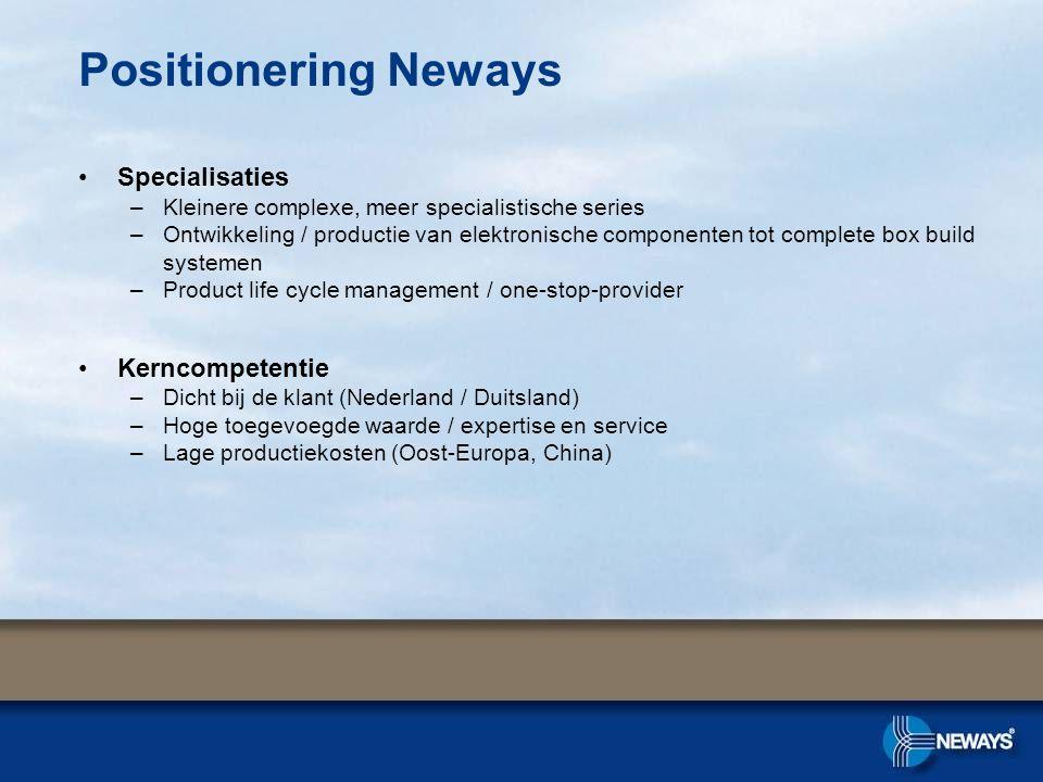 Positionering Neways •Specialisaties –Kleinere complexe, meer specialistische series –Ontwikkeling / productie van elektronische componenten tot compl