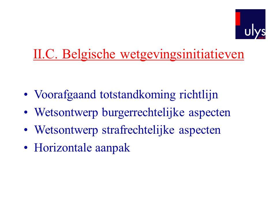 II.C. Belgische wetgevingsinitiatieven •Voorafgaand totstandkoming richtlijn •Wetsontwerp burgerrechtelijke aspecten •Wetsontwerp strafrechtelijke asp