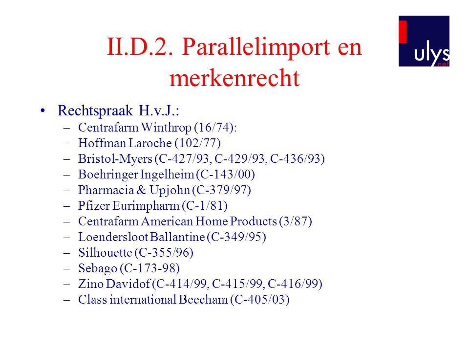 II.D.2. Parallelimport en merkenrecht •Rechtspraak H.v.J.: –Centrafarm Winthrop (16/74): –Hoffman Laroche (102/77) –Bristol-Myers (C-427/93, C-429/93,