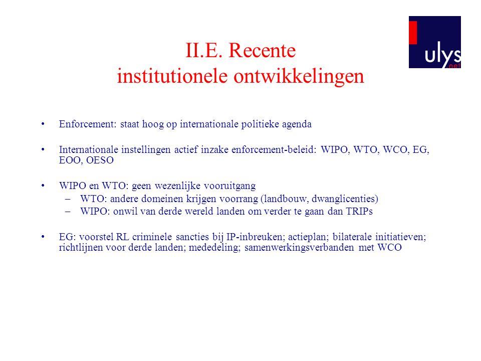 II.E. Recente institutionele ontwikkelingen •Enforcement: staat hoog op internationale politieke agenda •Internationale instellingen actief inzake enf