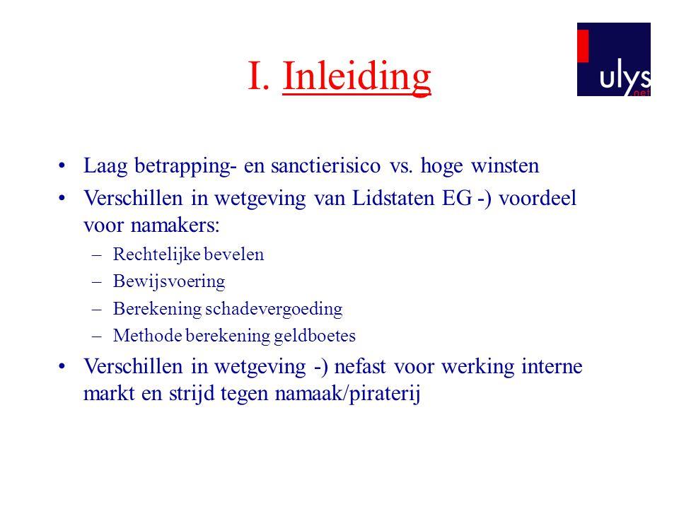I. Inleiding •Laag betrapping- en sanctierisico vs. hoge winsten •Verschillen in wetgeving van Lidstaten EG -) voordeel voor namakers: –Rechtelijke be